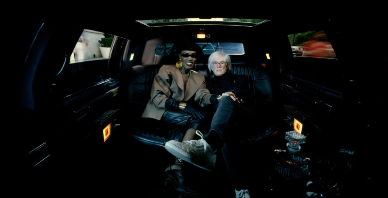 USA. New York City. 1986. Grace JONES and Andy WARHOL.