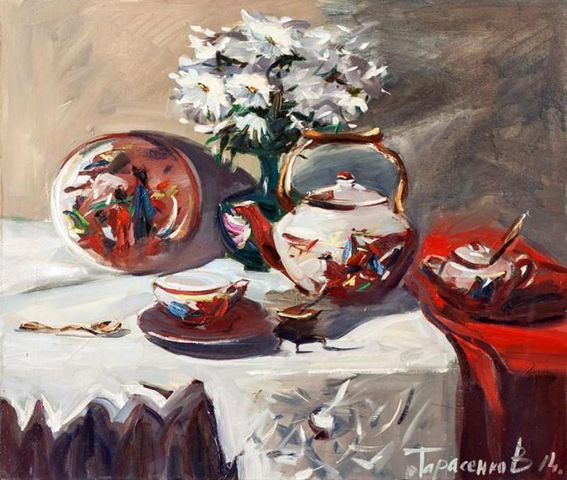 в.тарасенко_Белый чайный набор_60х80