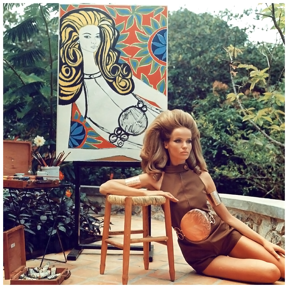 veruschka-is-posing-for-artist-genaro-de-carvalho-who-paints-a-colorful-graphic-portrait-of-her-as-she-is-wearing-a-brown-split-leg-halter-one-piece-by-ginori-with-big-round-copper