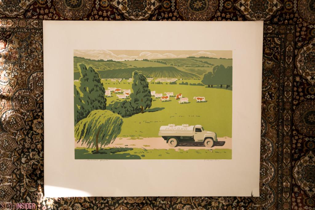 Б. Шац «Молочная ферма», 1971 г., линогравюра. Анна Копылова.