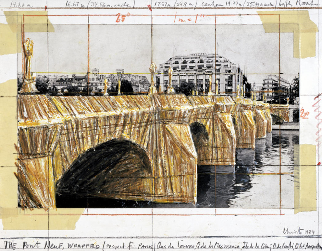 christo-the-pont-neuf-wrapped-1984-pencil-enamel-paint-wax-crayon-tape-and-photograph-by-wolfgang-volz-11-x-14-in