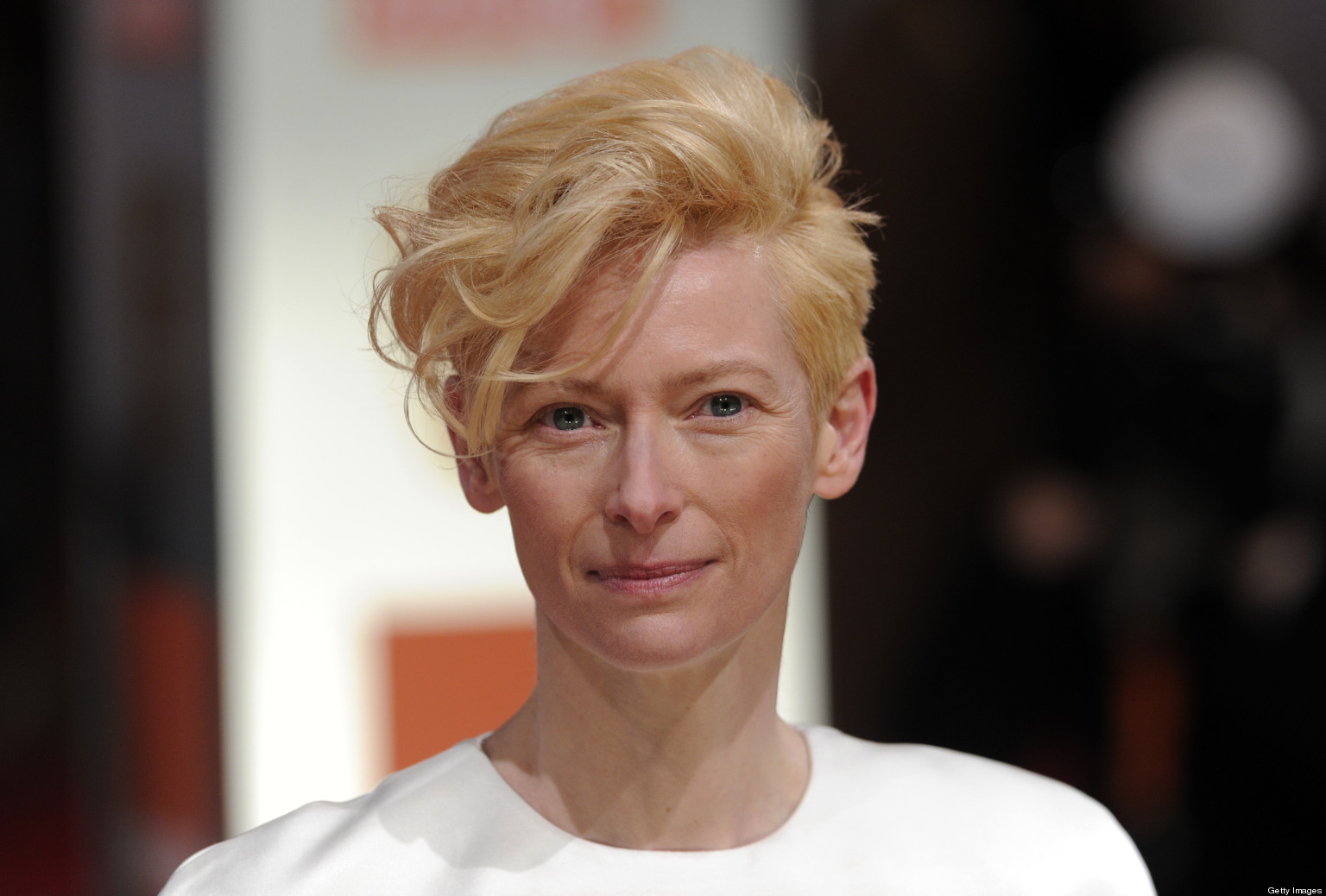 British actress Tilda Swinton poses on the red carpet arriving at the BAFTA British Academy Film Awards at the Royal Opera House in London on February 12, 2012. AFP PHOTO / CARL COURT (Photo credit should read CARL COURT/AFP/Getty Images)