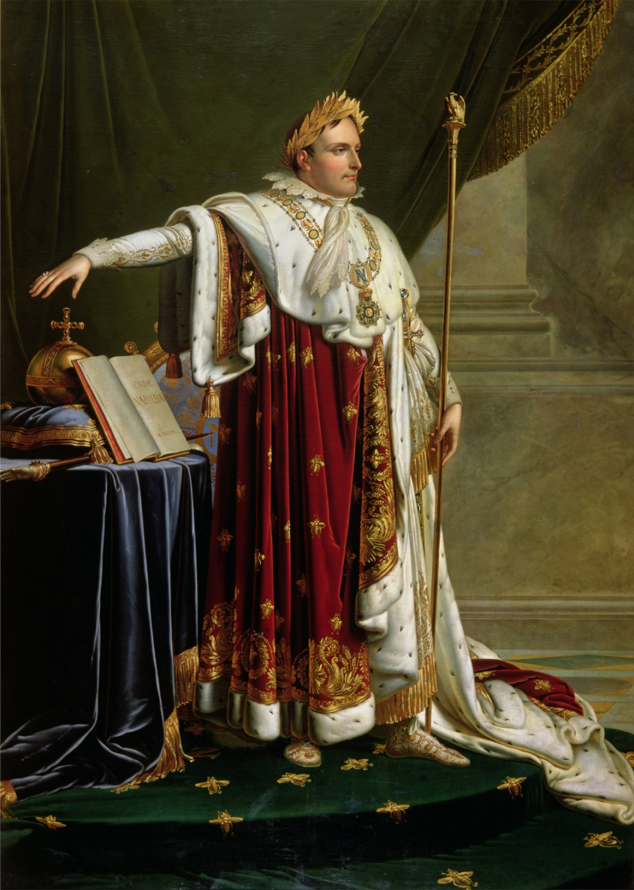 BWM227006 Portrait of Napoleon Bonaparte (1769-1821) (oil on canvas) by Girodet de Roucy-Trioson, Anne Louis (1767-1824); © The Bowes Museum, Barnard Castle, County Durham, UK; French, out of copyright
