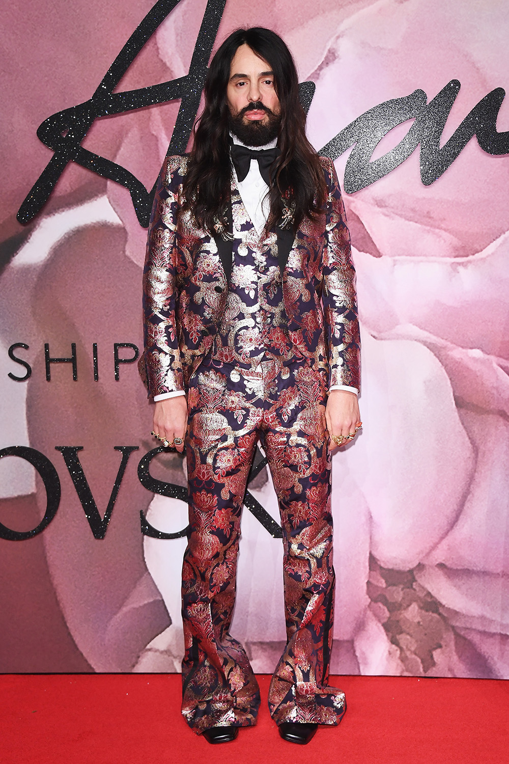 LONDON, ENGLAND - DECEMBER 05:  Gucci Creative Director Alessandro Michele walks the red carpet for the British Fashion Awards 2016 on December 5, 2016 in London, England.  (Photo by Venturelli/Getty Images for GUCCI)