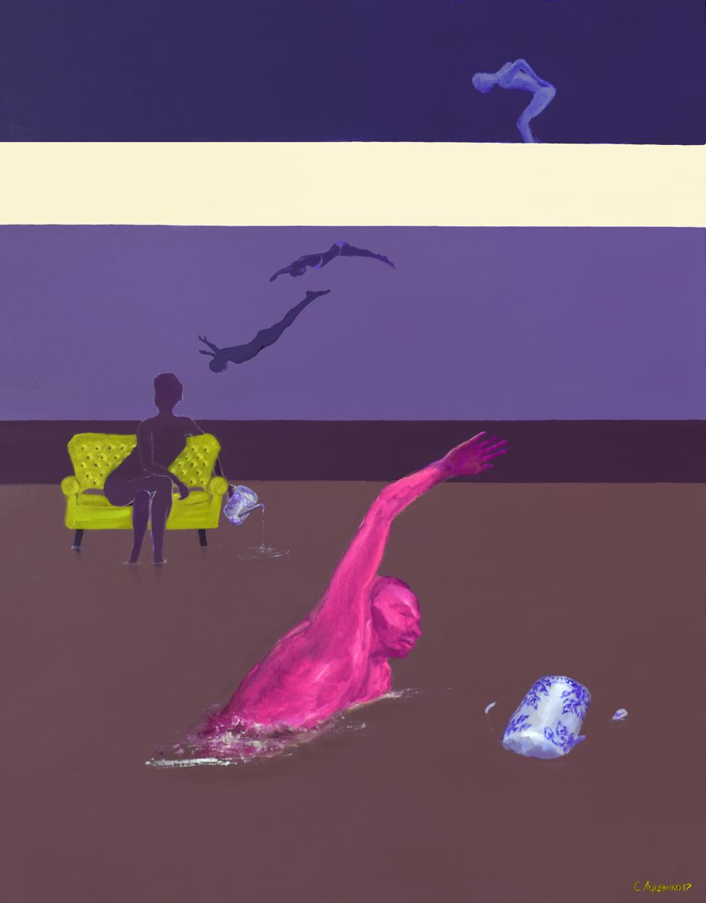Ночное плаванье, х.м. 80_100, 2017