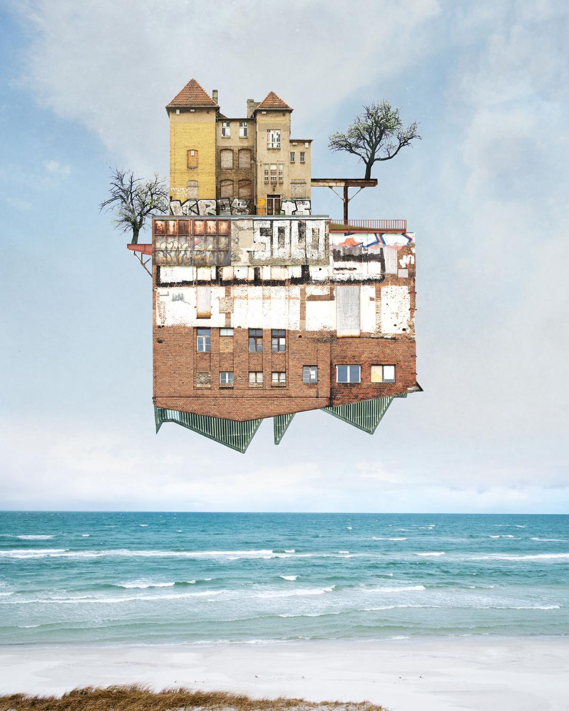 Парящие дома коллажи