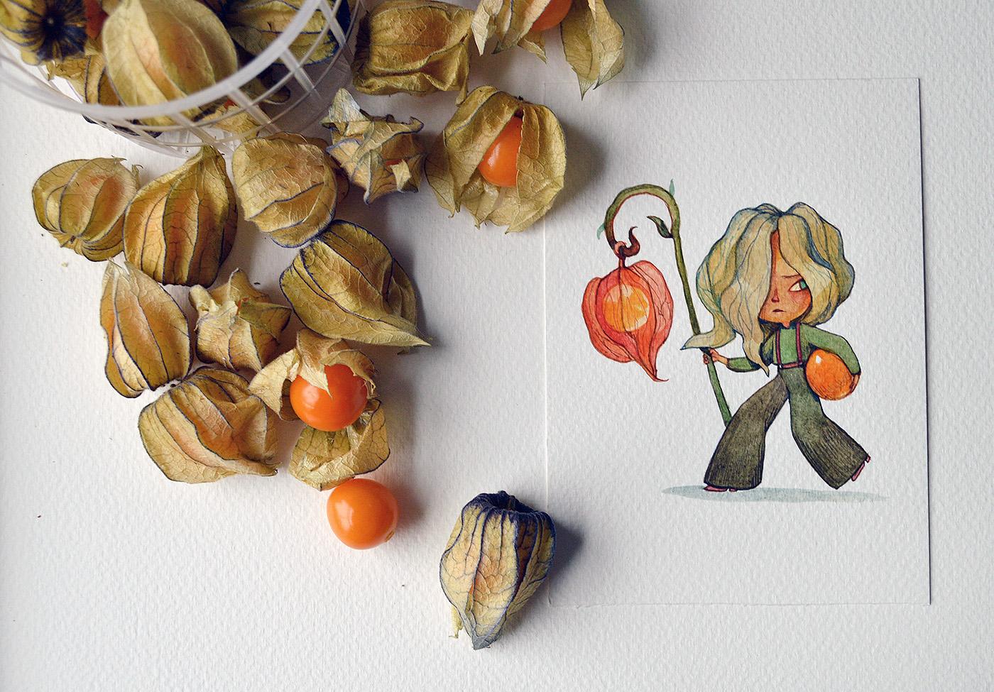 иллюстрации с овощами