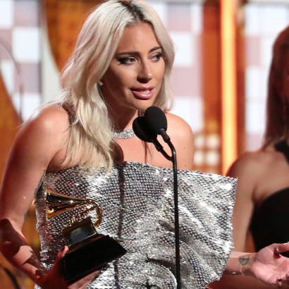"Mandatory Credit: Photo by Matt Sayles/Invision/AP/REX/Shutterstock (10101166ae) Lady Gaga accept the award for best pop duo or group performance for ""Shallow"" at the 61st annual Grammy Awards, in Los Angeles 61st Annual Grammy Awards - Show, Los Angeles, USA - 10 Feb 2019"