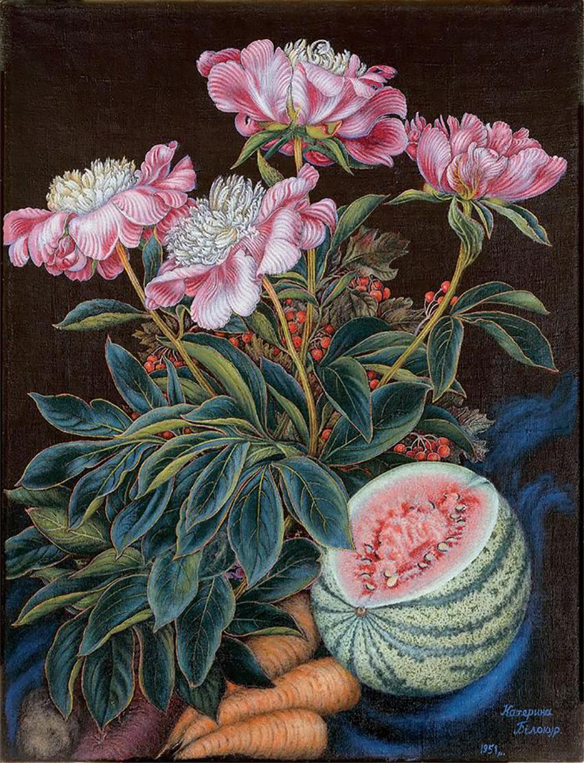 Катерина Билокур. Арбуз, морковь, цветы. 1951