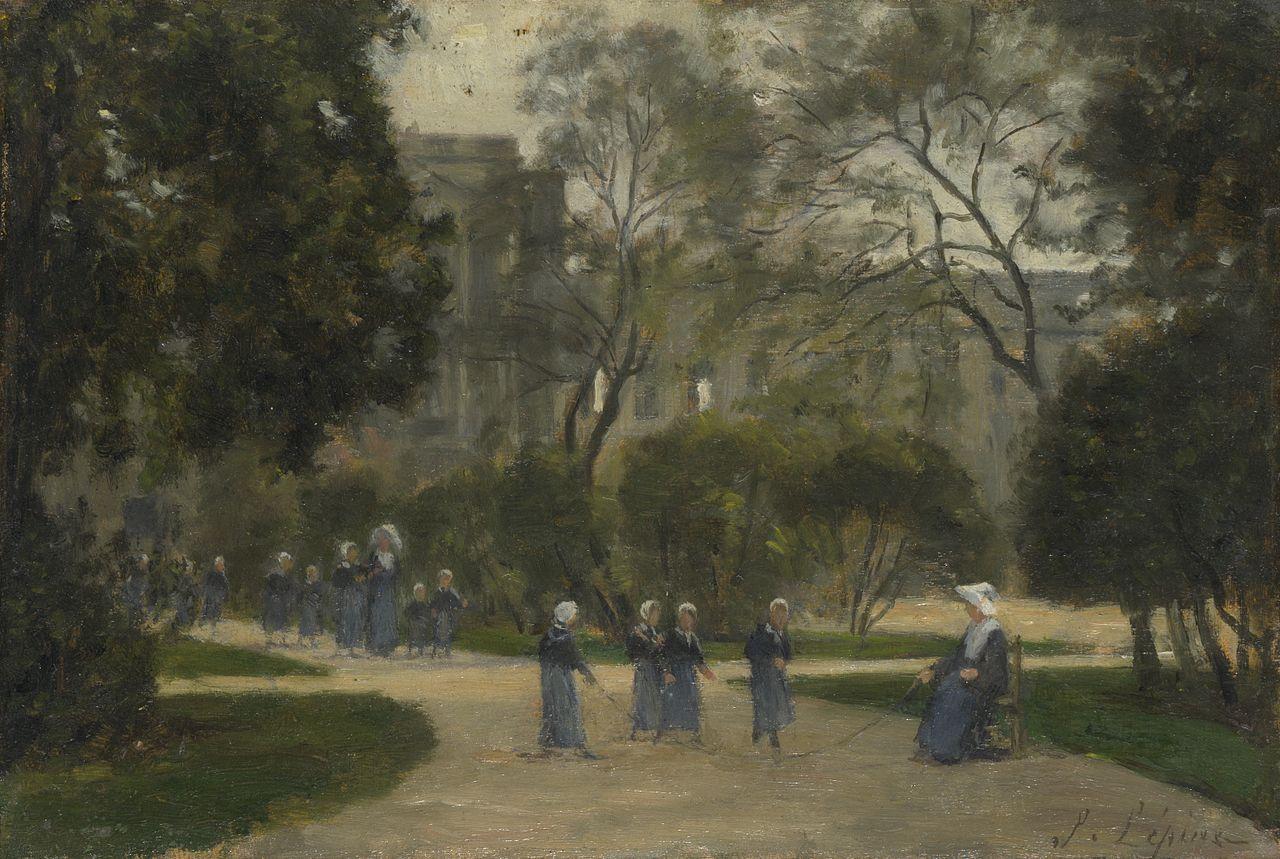 Монашки и школьницы в саду Тюильри
