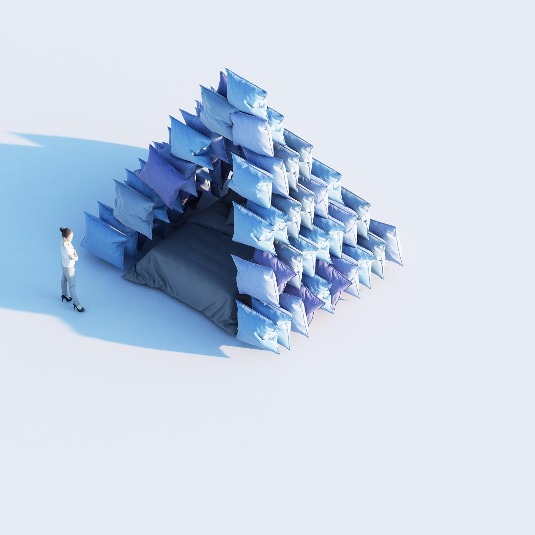 пирамида из подушек
