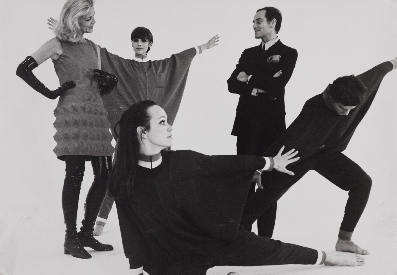 Pierre-Cardin-and-Lauren-Bacall-with-models-on-the-set-of-_Bacall-and-the-Boys,_-1968.-Photograph-by-Yoshi-Takata