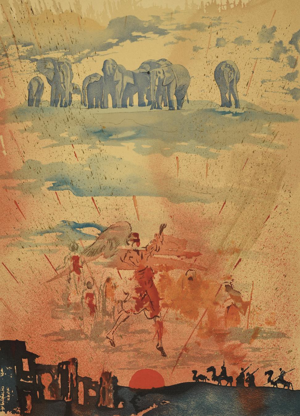 Сальвадор Дали, _Композиция со слонами_, 1970Из колекции Вадима Мороховского