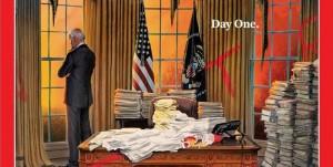 Time поставили на обложку иллюстрацию с Джо Байденом в первый день президентства